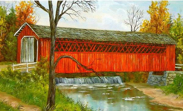 Painting Landscape Poster featuring the painting Henry Bridge Vt. by Marveta Foutch