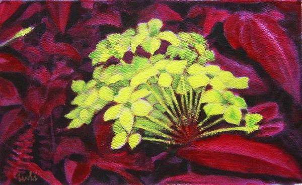 Foliage Poster featuring the painting Ixora - Jungle Flame by Usha Shantharam