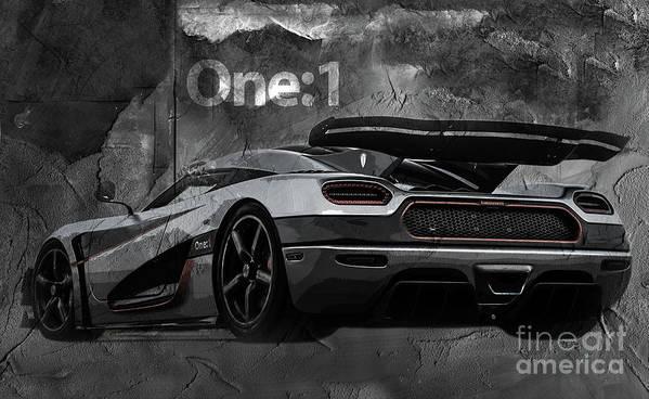 Koenigsegg Poster featuring the painting Koenigsegg One-1 by Gull G