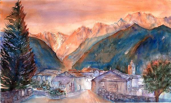 Swiss Mountains Watercolor Poster featuring the painting Late Fall In The Mountains No. 2 by Sabina Von Arx