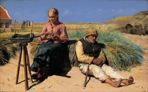 Michael Peter Ancher Poster featuring the painting Minding A Child by Peter Ancher