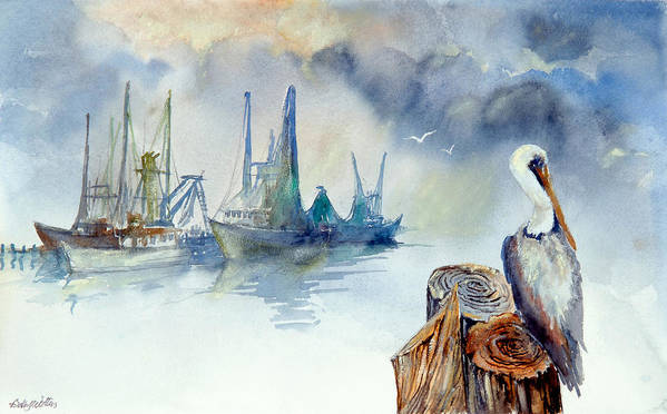 Pelican Poster featuring the painting Mississippi Pelican by Bobby Walters