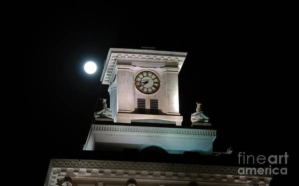 Full Moon Poster featuring the photograph Moon Over City Hall by David Lee Thompson