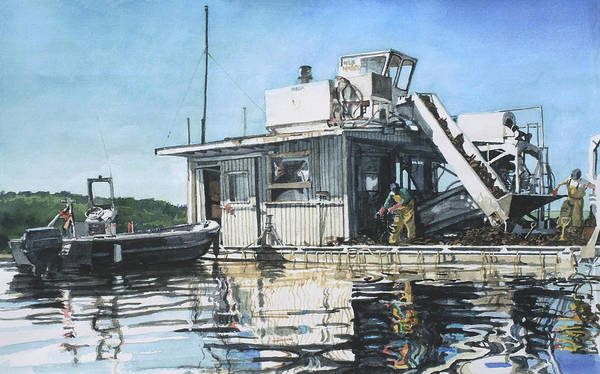 Motor Boat Poster featuring the painting Mussel Harvest On Penn Cove by Perry Woodfin