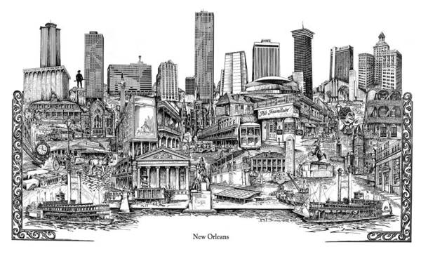 City Drawing Poster featuring the drawing New Orleans by Dennis Bivens