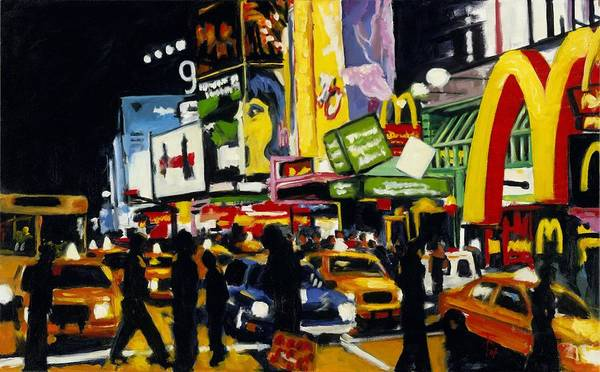 New York Poster featuring the painting Nyc II The Temple Of M by Robert Reeves