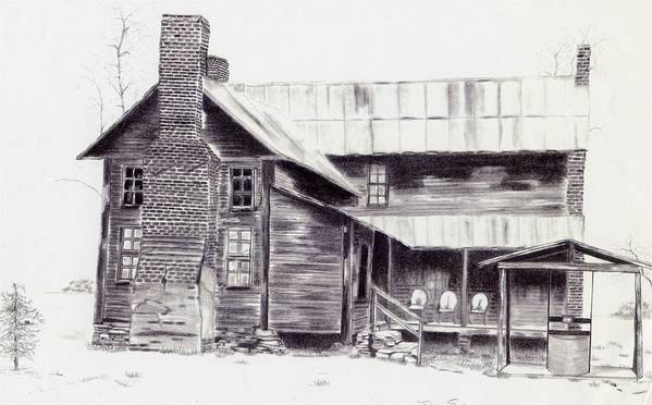 Landscape Poster featuring the drawing Old Willard Home by Penny Everhart