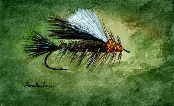 Fishing Fly Poster featuring the painting Orange Stimulator by Sean Seal