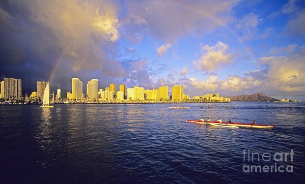 Arch Poster featuring the photograph Paddling Beneath Rainbow by Carl Shaneff - Printscapes