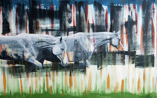 Horse Poster featuring the painting Passing Through by C Zimmer Art Studio
