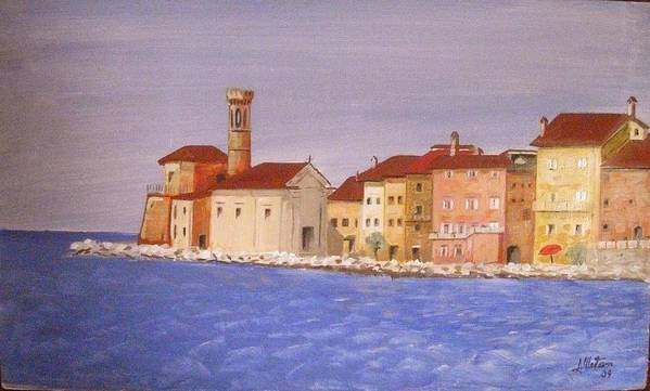 Lighthouse Poster featuring the painting Piran The Lighthouse by Anthony Meton