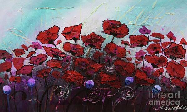 Abstract Poster featuring the painting Poppies R Poppin' by Karla Britfeld