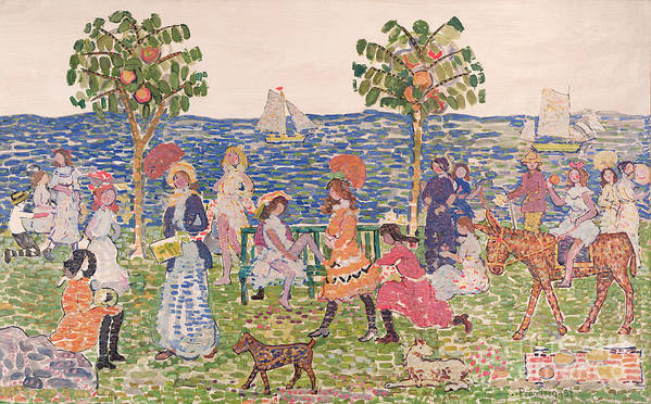 Promenade Poster featuring the painting Promenade by Maurice Brazil Prendergast