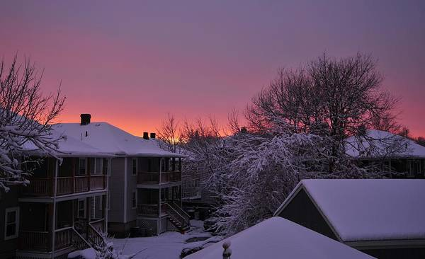 Sunset Over Fresh Snow Quincy Ma Poster featuring the photograph Rear Window To Surreal by Bill Driscoll