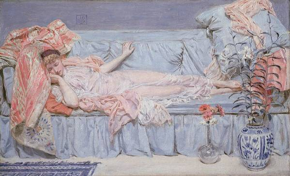 Reclining Poster featuring the painting Reclining Model by Albert Joseph Moore