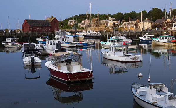 Rockport Poster featuring the photograph Reflection At Rockport Harbor by Jim Bosch