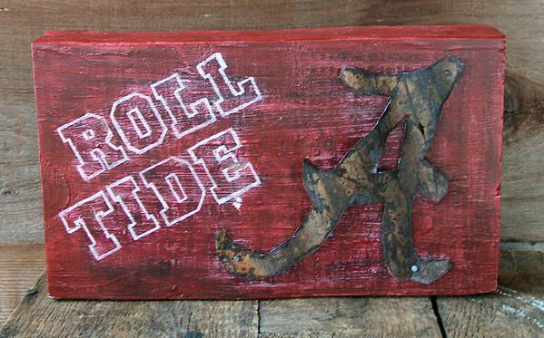Roll Tide Poster featuring the mixed media Roll Tide - Large by Racquel Morgan