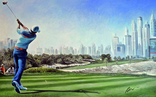 Rory Mcilroy Poster featuring the painting Rory At Ddc Emirates Gc Dubai 8th 2014 by Mark Robinson