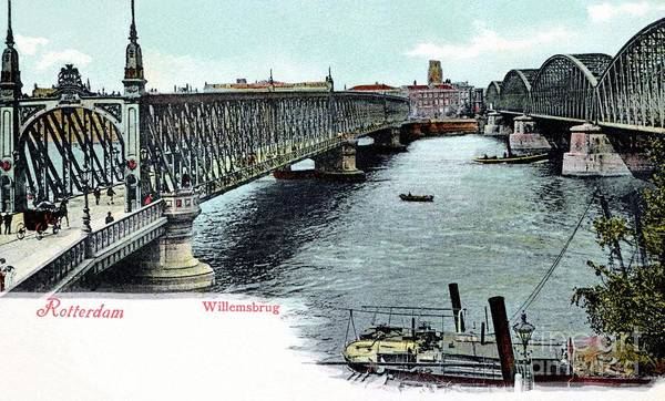 Rotterdam Poster featuring the photograph Rotterdam Oude Willemsbrug 1890 by Heidi De Leeuw