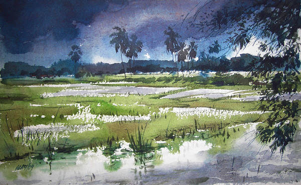 Water Colour Poster featuring the painting Rural Bengal 5 by Alaykumar Ghoshal