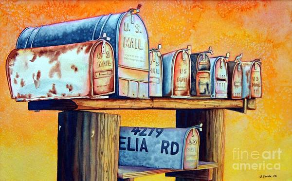 Mailboxes Poster featuring the painting Rural Route by Gail Zavala
