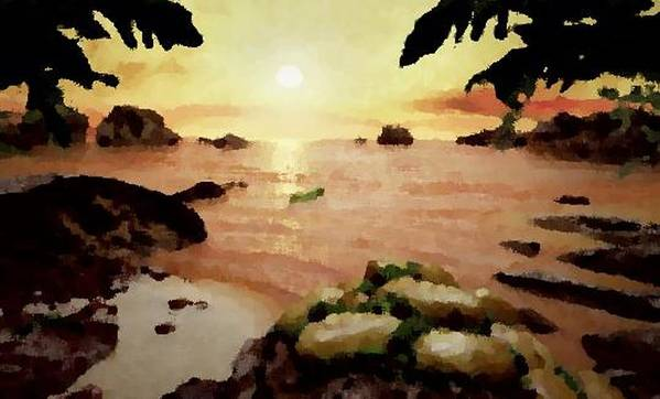 Landscape.coast.shore.trees.stones.sand.water.sunset Reflection.silence.rest.sun.sky. Poster featuring the digital art Sea Shore.sunset by Dr Loifer Vladimir