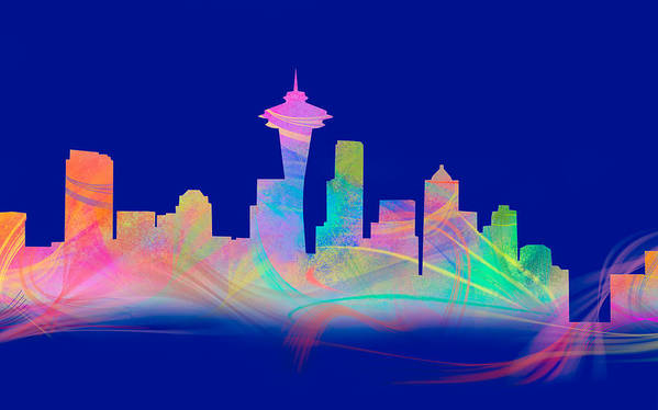 Seattle Poster featuring the digital art Seatttle Skyline Rainbow Watercolor by Tod and Cynthia Grubbs