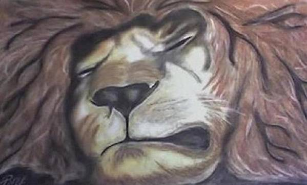Lion Poster featuring the drawing Sleeping King by Brad Hutchings