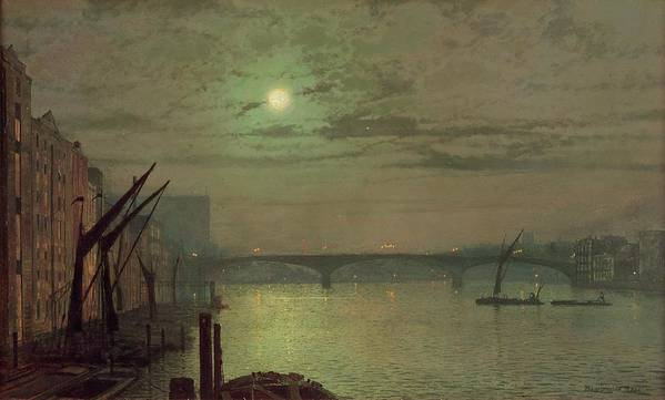 Southwark Poster featuring the painting Southwark Bridge by John Atkinson Grimshaw