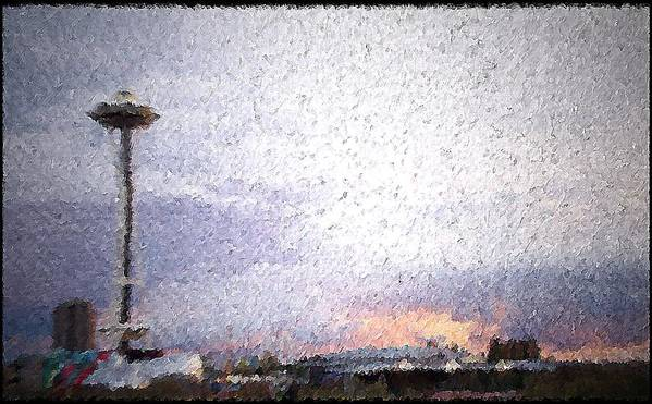 Seattle Poster featuring the mixed media Space Needle And Emp At Sunset by James Johnstone
