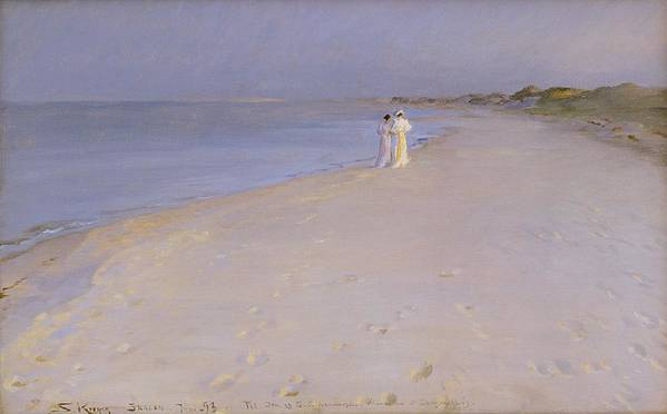 Summer Poster featuring the painting Summer Evening At The South Beach by Peder Severin Kroyer