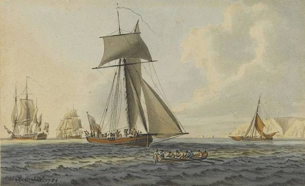 Beach Poster featuring the painting Taking Crew To An English Frigate Near The Needles Isle Of Wight By Robert Cleveley by Robert Cleveley