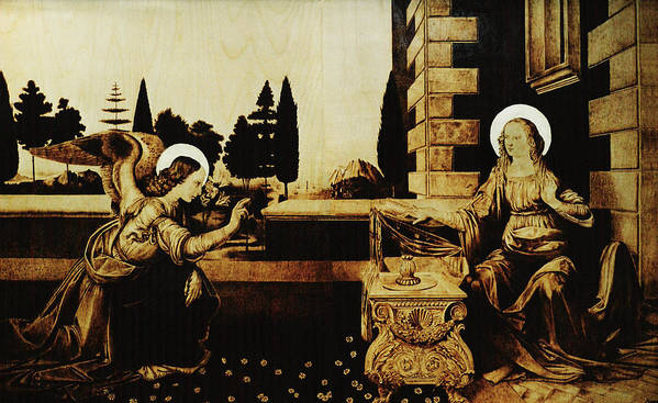 Dino Muradian Poster featuring the pyrography The Annunciation by Dino Muradian