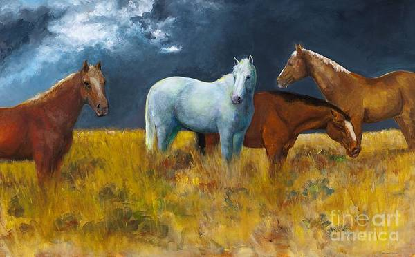 Horses Poster featuring the painting The Calm After The Storm by Frances Marino
