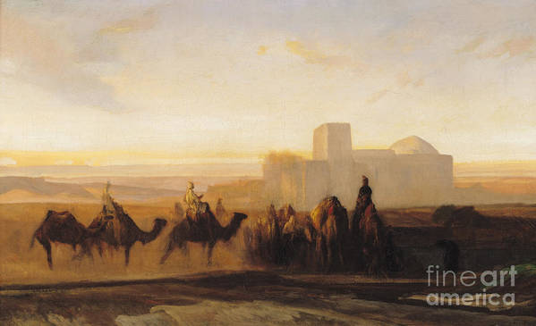 The Poster featuring the painting The Caravan by Alexandre Gabriel Decamps
