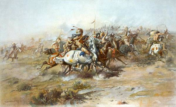 Charles Russell Poster featuring the digital art The Custer Fight by Charles Russell