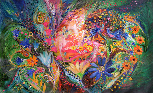 Original Poster featuring the painting The Dance Of Flowers by Elena Kotliarker