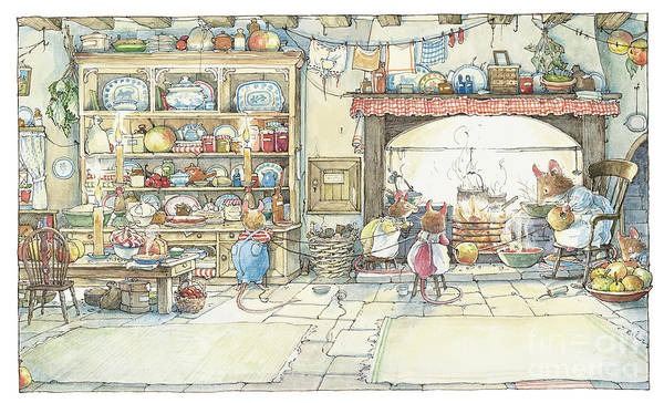 Brambly Hedge Poster featuring the drawing The Kitchen At Crabapple Cottage by Brambly Hedge