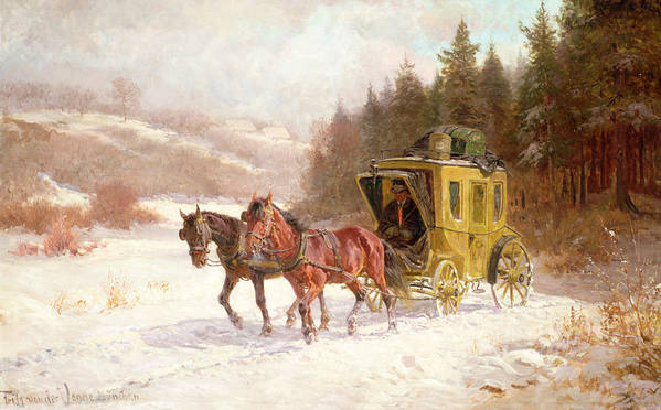 The Poster featuring the painting The Post Coach In The Snow by Fritz van der Venne