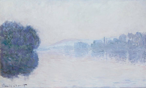 Impressionism; Impressionist; Landscape; River; Dawn; Mist; Reflection; Tree; River Poster featuring the painting The Seine Near Vernon by Claude Monet