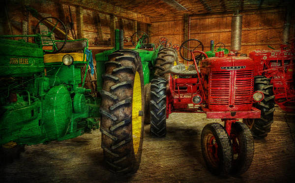 Lee Dos Santos Poster featuring the photograph Tractors At Rest - John Deere - Mccormick - Farmall - Farm Equipment - Nostalgia - Vintage by Lee Dos Santos