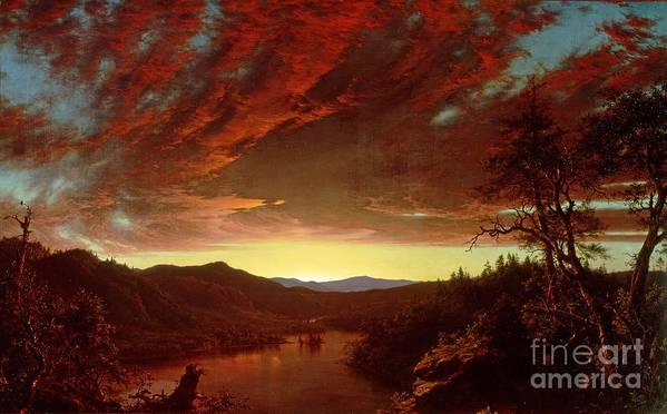 Twilight Poster featuring the painting Twilight In The Wilderness by Frederic Edwin Church