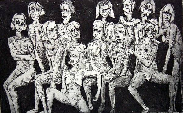 Etching Poster featuring the print Ugly Girls by Thomas Valentine