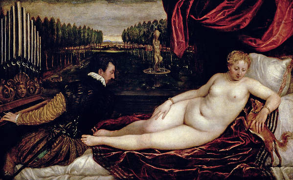 Venus Poster featuring the painting Venus And The Organist by Titian