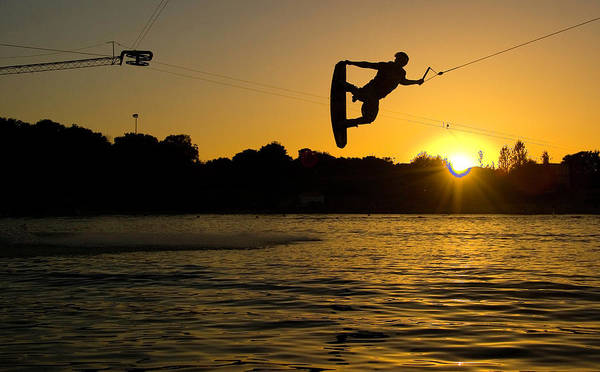 Adult Poster featuring the photograph Wakeboarder At Sunset by Andreas Mohaupt