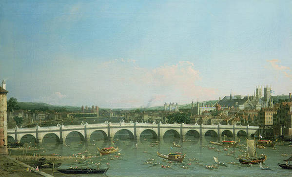 Canaletto Poster featuring the painting Westminster Bridge From The North With Lambeth Palace In Distance by Canaletto
