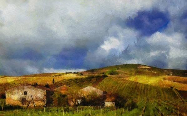 Farm Landscape Wine Vineyard Italy Sicily Muscatto Poster featuring the digital art Wine Vineyard by Brandon Hunter