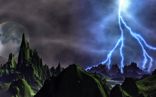 David Jackson Approaching Storm Venus Alien Landscape Planets Scifi Poster featuring the digital art Approaching Storm by David Jackson