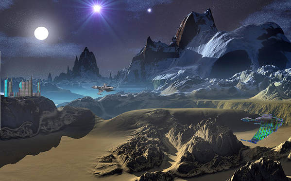 David Jackson Krill City Stardock Alien Landscape Planets Scifi Poster featuring the digital art Krill City Stardock. by David Jackson