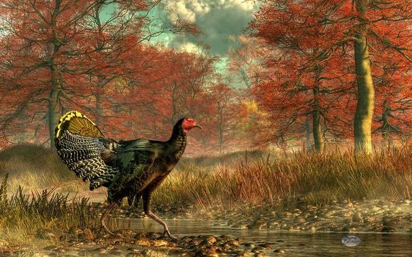 Turkey Poster featuring the digital art Wild Turkey by Daniel Eskridge